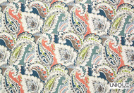 Uf_0262 'Berry' | Curtain & Upholstery fabric - Eclectic, Floral, Garden, Natural fibre, Paisley, Many-Coloured, Domestic Use, Natural