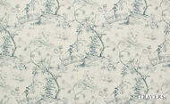 Uf_0418 '44086/586' | Curtain Fabric - Beige, Blue, Natural fibre, Toile de Jouy, Toile, Traditional, Natural