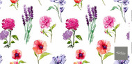 Uf_0846 '' | Curtain Fabric - Floral, Garden, Synthetic fibre, Many-Coloured, Pink - Purple