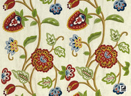 Uf_2692 'Multi' | Curtain & Upholstery fabric - Red, Craftsman, Floral, Garden, Jacobean, Natural fibre, Red, Traditional, Domestic Use, Natural