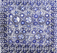 Uf_1218 'Charcoal' | Upholstery Fabric - Blue, Craftsman, Fiber blend, Medallion, Mediterranean, Suzani, Traditional, Pink - Purple, Domestic Use