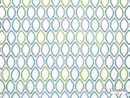 Etamine Optimiste Luciole - 19481/183  | Curtain Fabric - Blue, Geometric, Natural Fibre, Ogee, Natural, Standard Width