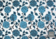 Textilia Liana - Guava  | Upholstery Fabric - Blue, Floral, Garden, Natural Fibre, Domestic Use, Natural, Standard Width