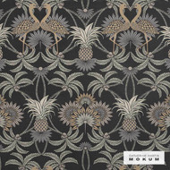 Catherine Martin By Mokum Flamingo - Obsidian 862  | Upholstery Fabric - Stain Repellent, Fire Retardant, Art Noveau, Black - Charcoal, Craftsman, Damask, Floral, Garden