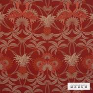 Catherine Martin By Mokum Flamingo - Red Coral 184  | Upholstery Fabric - Stain Repellent, Fire Retardant, Red, Art Noveau, Craftsman, Damask, Eco Friendly, Floral, Garden, Synthetic, Tropical