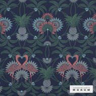 Catherine Martin By Mokum Flamingo - Sapphire 502  | Upholstery Fabric - Stain Repellent, Blue, Fire Retardant, Pink, Purple, Synthetic, Washable, Commercial Use, Dry Clean