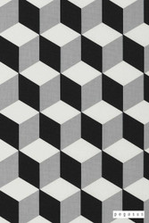 Pegasus Cube - Jet  | Curtain Fabric - Black, Grey, Geometric, Natural fibre, Black - Charcoal, Abstract, Domestic Use, Natural, Top of Bed