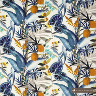 James Dunlop Pandora - Lapis  | Curtain & Upholstery fabric - Blue, Floral, Garden, Multi-Coloured, Natural fibre, Tropical, Washable, Domestic Use, Dry Clean, Natural, Top of Bed