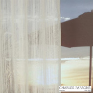 Charles Parsons Wycliffe - Snow    Curtain Sheer Fabric - White, Industrial, Stripe, Synthetic, Uncoated, Washable, Domestic Use, White, Weighted Hem