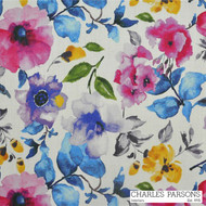 Charles Parsons Poppy - Fuchsia  | Curtain & Upholstery fabric - Contemporary, Fibre Blends, Floral, Garden, Pink, Purple, Uncoated, Commercial Use, Standard Width