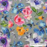 Charles Parsons Poppy - Grey  | Curtain & Upholstery fabric - Contemporary, Fibre Blends, Floral, Garden, Multi-Coloured, Pink, Purple, Uncoated, Commercial Use, Watercolour