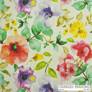 Charles Parsons Poppy - Watermelon  | Curtain & Upholstery fabric - Contemporary, Fiber blend, Floral, Garden, Uncoated, Commercial Use