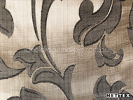 Nettex Stately Leighton Sepia MG4    Curtain Fabric - Brown, White, Damask, Fibre Blends, Floral, Garden, Traditional, Domestic Use, White, Standard Width