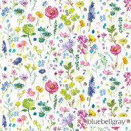 bluebellgray Tetbury - Spring  | Curtain Fabric - Blue, Green, Deco, Decorative, Farmhouse, Floral, Garden, Natural fibre, Pink, Purple, Domestic Use, Natural, Top of Bed