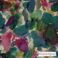 bbg_12050-101 'Petrol' | Curtain & Upholstery fabric - Blue, Green, Contemporary, Deco, Decorative, Floral, Garden, Natural fibre, Organic, Many-Coloured, Pink - Purple