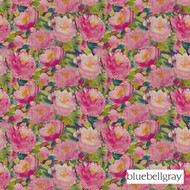 bbg_12049-101 'Peony' | Curtain & Upholstery fabric - Blue, Floral, Garden, Natural fibre, Pink - Purple, Domestic Use, Natural, Top of Bed