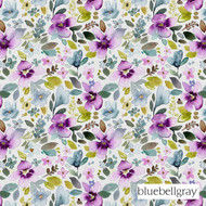 Bluebellgray Christine - Spring  | Curtain & Upholstery fabric - Blue, Contemporary, Floral, Garden, Natural Fibre, Pink, Purple, Domestic Use, Dry Clean, Natural, Top of Bed