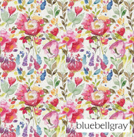 Bluebellgray Devon - Carmine  | Curtain & Upholstery fabric - Blue, Red, Contemporary, Floral, Garden, Natural Fibre, Pink, Purple, Domestic Use, Dry Clean, Natural