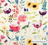 Bluebellgray Flower Field - Ecru  | Curtain & Upholstery fabric - Blue, Contemporary, Floral, Garden, Natural Fibre, Pink, Purple, Domestic Use, Dry Clean, Natural, Top of Bed