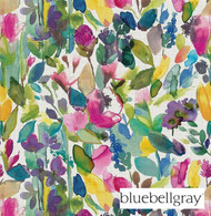 Bluebellgray Grande Mode - Meadow  | Curtain & Upholstery fabric - Blue, Contemporary, Floral, Garden, Natural Fibre, Pink, Purple, Domestic Use, Dry Clean, Natural
