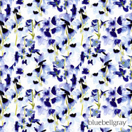bbg_12053-101 'Indigo' | Curtain & Upholstery fabric - Blue, Floral, Garden, Natural fibre, Domestic Use, Natural, Top of Bed