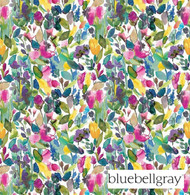 bbg_12055-101 'Meadow' | Curtain & Upholstery fabric - Blue, Green, Floral, Garden, Natural fibre, Many-Coloured, Pink - Purple, Domestic Use, Natural, Top of Bed