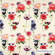 Bluebellgray Red Rose - Ecru  | Curtain & Upholstery fabric - Blue, Red, White, Contemporary, Floral, Garden, Multi-Coloured, Natural Fibre, Domestic Use, Dry Clean, White