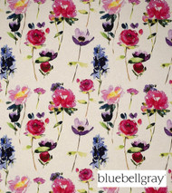 Bluebellgray Red Rose - Linen  | Curtain & Upholstery fabric - Blue, White, Contemporary, Floral, Garden, Natural Fibre, Pink, Purple, Domestic Use, Dry Clean, Natural