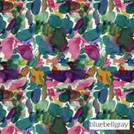 bbg_12046-101 'Jewel' | Curtain & Upholstery fabric - Blue, Green, Contemporary, Deco, Decorative, Floral, Garden, Natural fibre, Velvet, Many-Coloured, Pink - Purple