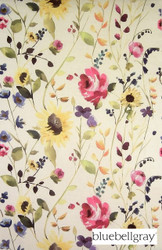 Bluebellgray Anya - Bouquet  | Curtain & Upholstery fabric - Blue, Gold,  Yellow, Contemporary, Floral, Garden, Natural Fibre, Domestic Use, Dry Clean, Natural, Top of Bed