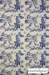 bbg_10809-100 'Cobalt' | Curtain & Upholstery fabric - Blue, Asian, Deco, Decorative, Natural fibre, Domestic Use, Natural, Print, Top of Bed, Chinoiserie - Chinoise