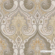 Baker Lifestyle - Latika - Stone-Oatmeal    Curtain & Upholstery fabric - Brown, Eclectic, Mediterranean, Natural Fibre, Paisley, Traditional, Natural, Print, Standard Width