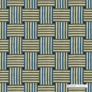 ' | Curtain & Upholstery fabric - Blue, Green, Basketweave, Fiber blend, Geometric, Midcentury, Embroidery, Print