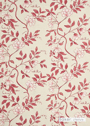 Bal_PP50345_3 'Pink' | Curtain Fabric - Red, Farmhouse, Floral, Garden, Natural fibre, Red, Natural, Print