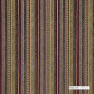 Baker Lifestyle - Santana - Multi    Upholstery Fabric - Brown, Gold - Yellow, Red, Contemporary, Red, Stripe, Synthetic fibre, Traditional