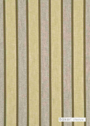 Baker Lifestyle - Elton Stripe - Leaf  | Curtain & Upholstery fabric - Gold,  Yellow, Natural Fibre, Stripe, Traditional, Weave, Natural, Standard Width