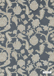 ' | Curtain Fabric - Blue, Fiber blend, Floral, Garden, Jacobean, Traditional, Weave