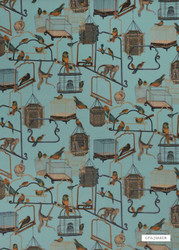 GPJ Baker - Menagerie Velvet - Teal  | Curtain & Upholstery fabric - Blue, Natural fibre, Velvet, Animals, Animals - Fauna, Natural