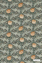 GPJ Baker - Tulip & Jasmine - Charcoal-Green  | Curtain & Upholstery fabric - Green, Art Noveau, Craftsman, Floral, Garden, Synthetic