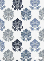 GPJ Baker - Tregony - Indigo  | Curtain & Upholstery fabric - Blue, Fibre Blends, Floral, Garden, Traditional, Embroidery, Standard Width