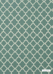 GPJ Baker - Cottesmore - Teal  | Curtain & Upholstery fabric - Fibre Blends, Mediterranean, Quatrefoil, Small Scale, Embroidery