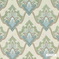 Bak_BF10499_2 'Aqua' | Curtain & Upholstery fabric - Blue, Damask, Fiber blend, Traditional, Embroidery
