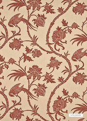 Trail' | Curtain & Upholstery fabric - Brown, Farmhouse, Floral, Garden, Jacobean, Natural fibre, Traditional, Animals, Natural, Animals - Fauna