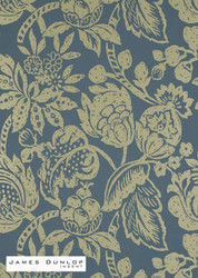 James Dunlop Indent - Batik Foil Wallpaper - Jewel  | Wallpaper, Wallcovering - Blue, Gold,  Yellow, Craftsman, Fiber blend, Floral, Garden, Jacobean, Traditional, Domestic Use