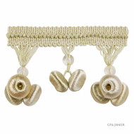 GPJ Baker - Button Drop Braid - Ivory  | Fringe, Curtain & Upholstery Trim - Beige, Fibre Blends, Traditional