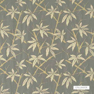 GPJ Baker - Bamboo - Slate Blue  | Curtain & Upholstery fabric - Gold,  Yellow, Grey, Farmhouse, Fiber blend, Floral, Garden, Midcentury, Tan, Taupe