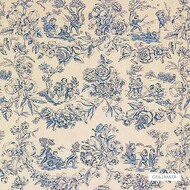 Bak_A1036_3 'Blue' | Curtain & Upholstery fabric - Blue, Natural fibre, Toile de Jouy, Toile, Traditional, Natural