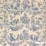 GPJ Baker - Children At Pla - Blue    Curtain & Upholstery fabric - Blue, Natural fibre, Toile de Jouy, Toile, Traditional, Natural