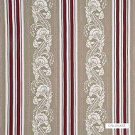 Bak_BF10446_2 'Red' | Curtain Fabric - Brown, Fiber blend, Stripe, Traditional, Embroidery