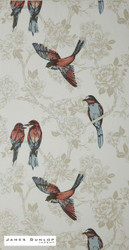 James Dunlop Indent - Songbird Wallpaper - Vintage  | Wallpaper, Wallcovering - Blue, Red, White, Craftsman, Deco, Decorative, Fiber blend, Animals, Animals - Fauna, Domestic Use, White